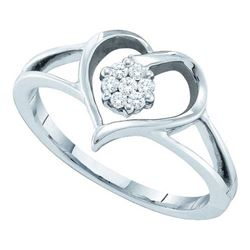 10KT White Gold 0.10CTW DIAMOND LADIES HEART RING