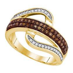 10KT Yellow Gold 0.33CTW COGNAC DIAMOND MICRO-PAVE RING