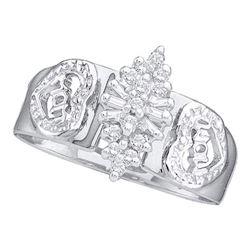 10KT White Gold 0.12CTW DIAMOND 'MOM' RING