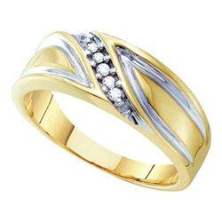 10K Yellow-gold 0.10CTW DIAMOND MENS FASHION BAND