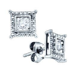 925 Sterling Silver White 0.05CTW DIAMOND FASHION EARRI