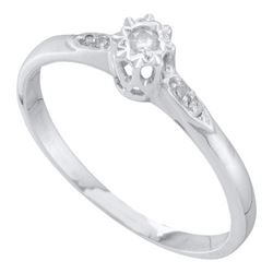 10KT White Gold 0.06CTW DIAMOND ROUND CENTER BRIDAL RIN