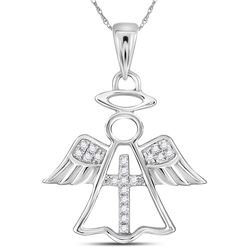 14kt White Gold Womens Round Diamond Angel Cross Religi