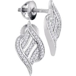 10KT White Gold 0.16CTW DIAMOND MICRO-PAVE EARRINGS