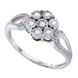 925 Sterling Silver White 0.12CTW DIAMOND FLOWER RING