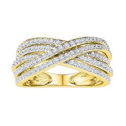 10kt Yellow Gold Womens Round Diamond Crossover Five Ro