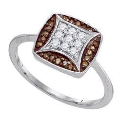 10KT White Gold 0.25CTW COGNAC DIAMOND MICRO-PAVE RING