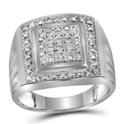 Sterling Silver Mens Round Diamond Square Frame Cluster