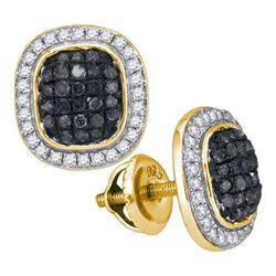 10K Yellow-gold 0.55CTW BLACK DIAMOND MICRO-PAVE EARRIN