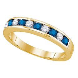 10KT Yellow Gold 0.53CT BLUE DIAMOND INVISIBLE BAND