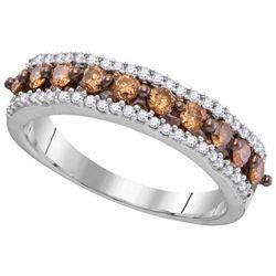 10KT White Gold 0.60CTW COGNAC DIAMOND FASHION RING