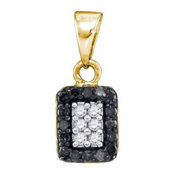 14K Yellow-gold 0.20CTW BLACK DIAMOND MICRO-PAVE PENDAN