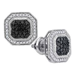 10KT White Gold 0.50CTW BLACK DIAMOND MICRO-PAVE EARRIN