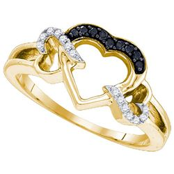 925 Sterling Silver Yellow 0.13CTW DIAMOND HEART RING