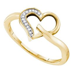 10KT Yellow Gold 0.04CTW DIAMOND HEART RING