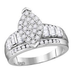 Sterling Silver Womens Round Diamond Oval Cluster Brida