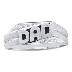 "14KT White Gold 0.01CTW DIAMOND ""DAD"" RING"