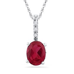 10kt White Gold Womens Oval Lab-Created Ruby Solitaire