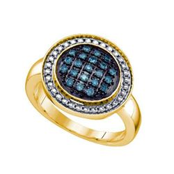 925 Sterling Silver Yellow 0.20CTW BLUE DIAMOND CLUSTER