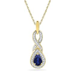10kt Yellow Gold Womens Pear Lab-Created Blue Sapphire
