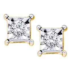 10KT Yellow Gold 0.05CTW DIAMOND LADIES FANOOK EARRINGS