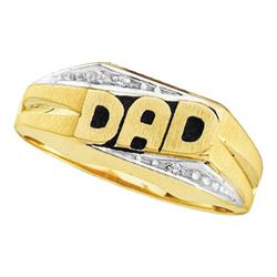 "14KT Yellow Gold 0.01CTW ROUND DIAMOND MEN'S ""DAD"" CLUS"
