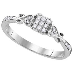 Sterling Silver Womens Princess Natural Diamond Cluster
