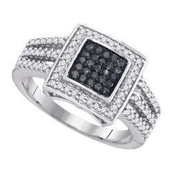 10K White-gold 0.50CTW BLACK DIAMOND FASHION RING