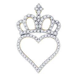 10kt Yellow Gold Womens Round Diamond Crown Heart Penda