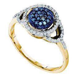 10K Yellow-gold 0.25CT BLUE DIAMOND FASHION RING
