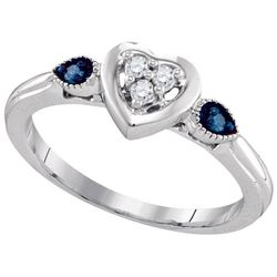 925 Sterling Silver White 0.10CTW BLUE DIAMOND FASHION