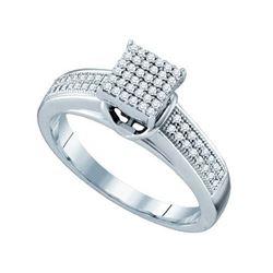 925 Sterling Silver White 0.25CTW DIAMOND MICRO PAVE RI