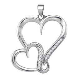 925 Sterling Silver White 0.10CTW DIAMOND HEART PENDANT