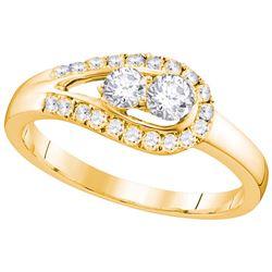 10kt Yellow Gold Womens Round Natural Diamond 2-stone B