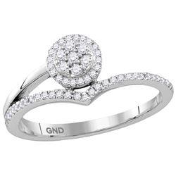 Womens 10K White Gold Round Cluster Real Diamond Fashio
