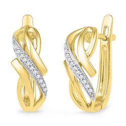 10K Yellow-gold 0.08CTW DIAMOND HOOPS EARRING
