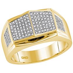 10kt Yellow Gold Mens Round Diamond Summetrical Arched
