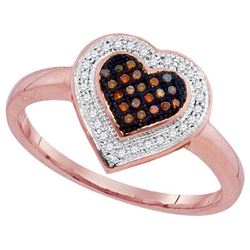 10KT Rose Gold 0.15CTW DIAMOND MICRO-PAVE HEART RING