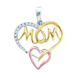"925 Sterling Silver White 0.07CTW DIAMOND ""MOM"" PENDANT"