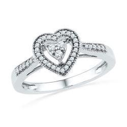 10KT White Gold 0.20CTW DIAMOND FASHION HEART RING