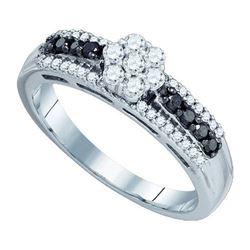 10K White-gold 0.48CTW BLACK DIAMOND FLOWER RING