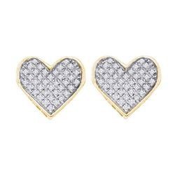 925 Sterling Silver Yellow 0.25CTW DIAMOND HEART EARRIN