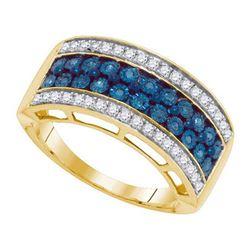 10KT Yellow Gold 0.45CTW BLUE DIAMOND MICRO-PAVE RING