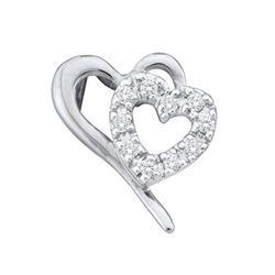 10KT White Gold 0.11CTW ROUND DIAMOND LADIES HEART PEND