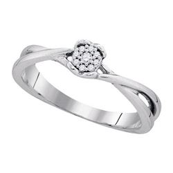 925 Sterling Silver White 0.07CTW DIAMOND FASHION RING
