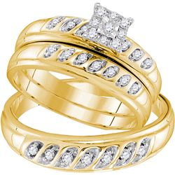 10kt Yellow Gold His & Hers Round Diamond Solitaire Mat