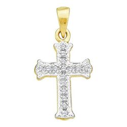 10KT Yellow Gold 0.08CTW DIAMOND LADIES CROSS CHARM