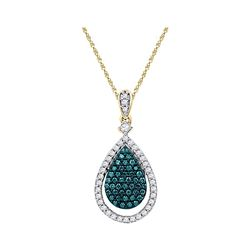 10kt Rose Gold Womens Round Blue Colored Diamond Teardr