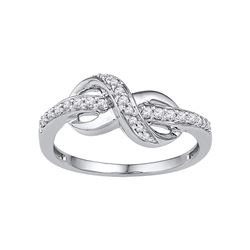 10kt White Gold Womens Round Natural Diamond Infinity F