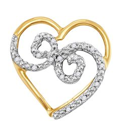 10kt Yellow Gold Womens Round Diamond Curled Heart Pend